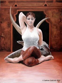 "COW FACE POSE, 2007, Acrylic on Canvas, 40x30"""