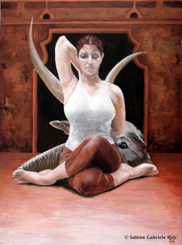 COW FACE POSE, 2007, Acrylic on Canvas, 40x30""