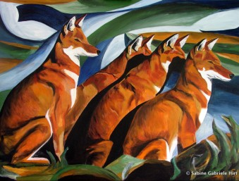 """SUNSET FOR ETHIOPIAN WOLVES, 2009 Acrylic on Canvas, 30x40"""""""
