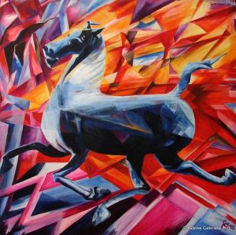"""FENGHANA HORSE, 2005, Acrylic on canvas, 40x40"""""""