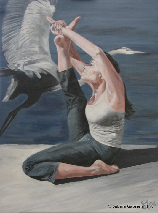 "HERON POSE, 2008, Acrylic on Canvas, 40x30"""