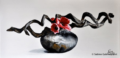 IKEBANA - POPPIES, 2011, Acrylic on Canvas, 18x36''