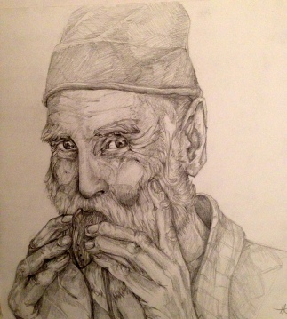 Elderly Man playing a Whistle