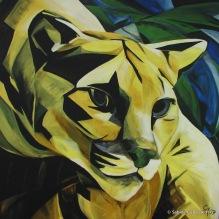 "PUMA - SALUTE TO FRANZ MARC, 2009 Acrylic on Canvas, 40x40"""