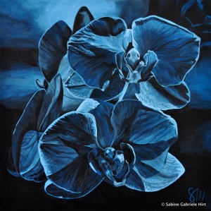 TWILIGHT ORCHIDS, 2011 Acrylic on Canvas, 40x40""